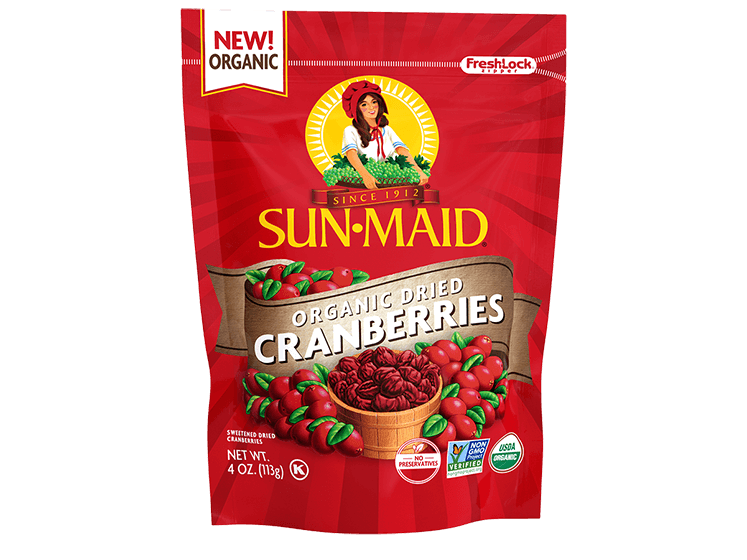 Sun-Maid Organic Dried Cranberries 4 oz. bag