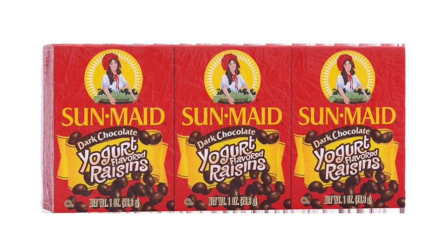 Sun-Maid Dark Chocolate Yogurt Flavored Raisins 1 oz. boxes (pack of 6)