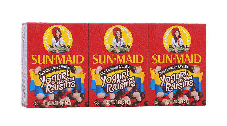 Sun-Maid Dark Chocolate & Vanilla Yogurt Flavored Raisins 1 oz. boxes (pack of 6)