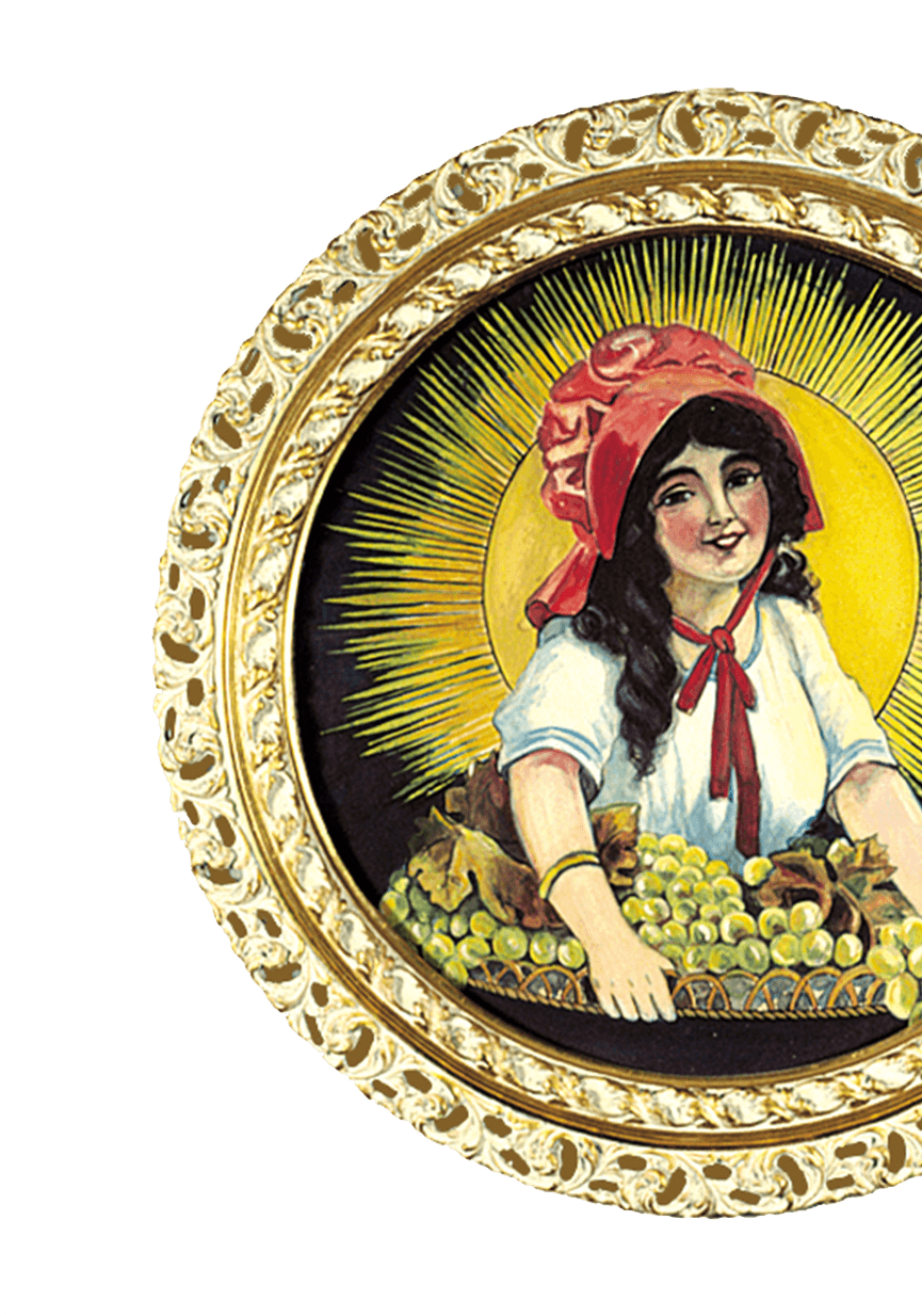 Painting of Lorraine Collett as the Sun-Maid girl, which ended up becoming Sun-Maid's logo