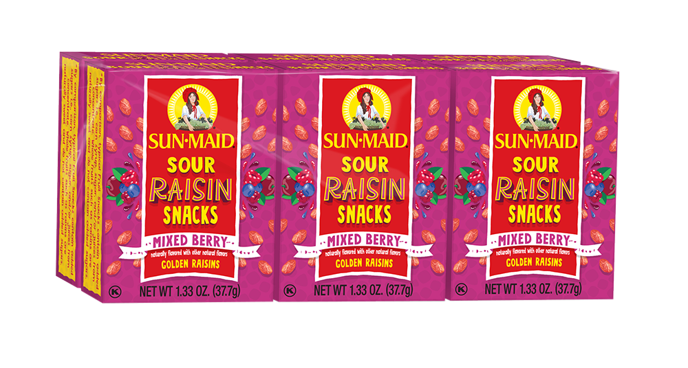 Mixed Berry Sour Raisin Snacks - 6 pack