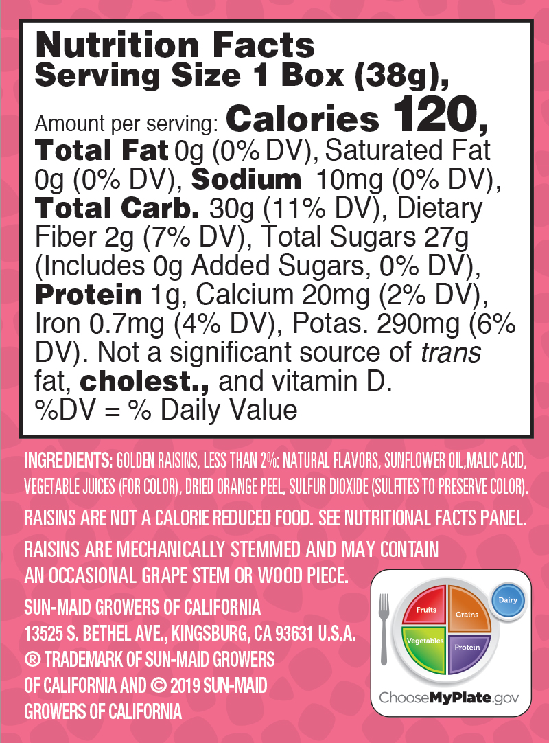 Strawberry Sour Raisin Snacks nutrition facts