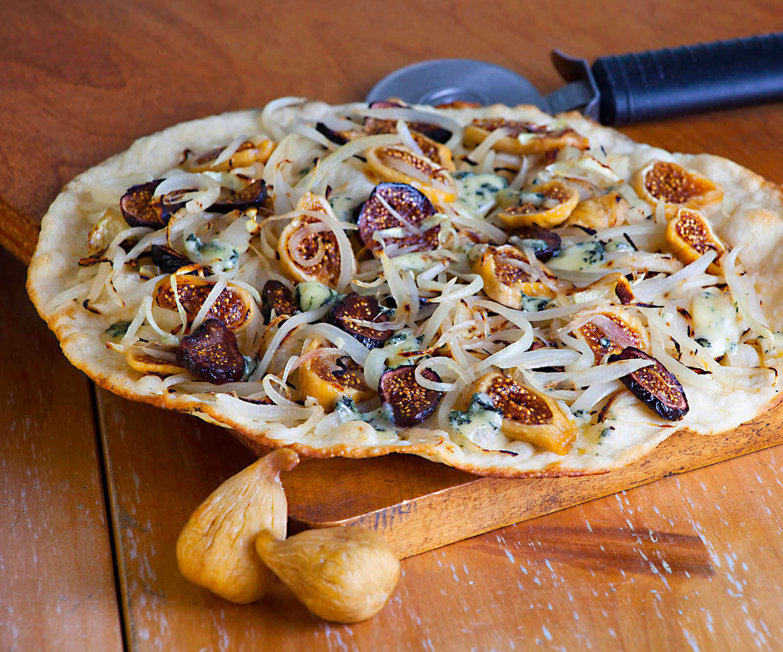 Gorgonzola Pizza with Dried Fig and Caramelized Onion